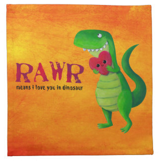 Dinosaurio romántico de RAWR T-rex Servilleta De Papel