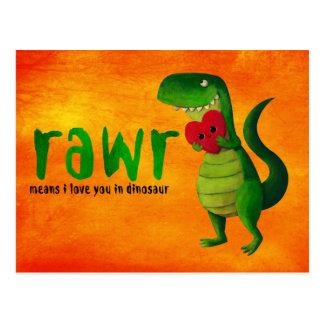 Dinosaurio romántico de RAWR T-rex Tarjetas Postales