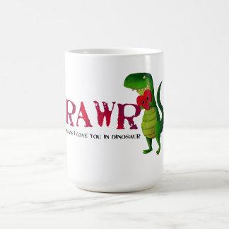 Dinosaurio romántico de RAWR T-rex Taza Clásica