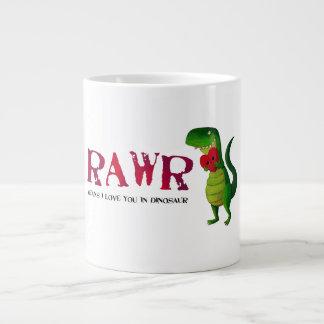 Dinosaurio romántico de RAWR T-rex Taza Grande