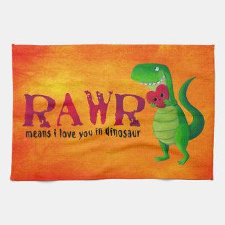 Dinosaurio romántico de RAWR T-rex Toallas