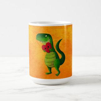 Dinosaurio romántico de RAWR Taza Básica Blanca