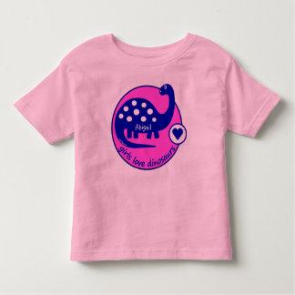 Dinosaurio rosado brillante simple lindo de los playera de bebé