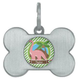 Dinosaurio rosado, Dino; Rayas verdes y blancas Placas De Mascota