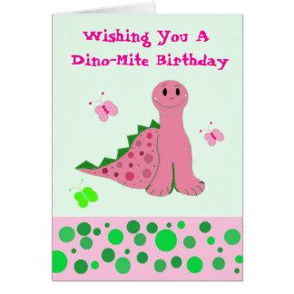Dinosaurio rosado lindo felicitaciones
