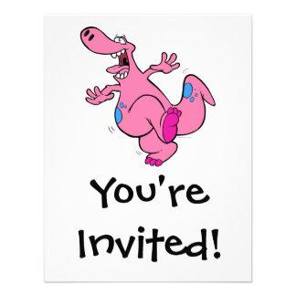 dinosaurio rosado tonto Dino del baile Invitación