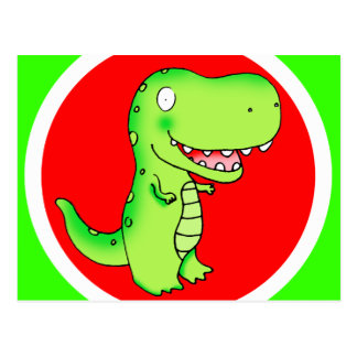 dinosaurio T-rex del dibujo animado para los niños Postales