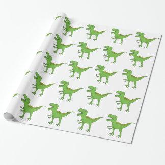 Dinosaurio-T-Rex verde lindo Papel De Regalo