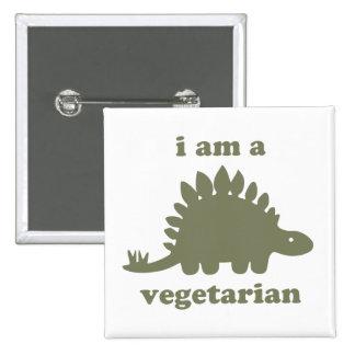 Dinosaurio vegetariano del Stegosaurus - verde Pin Cuadrado