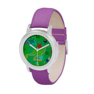 Dinosaurio verde Emma conocida adaptable Relojes De Mano