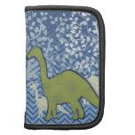 Dinosaurio verde en el zigzag Chevron - azul y bla Organizadores