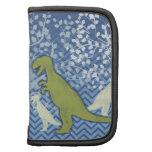 Dinosaurio verde en el zigzag Chevron - azul y bla Planificador