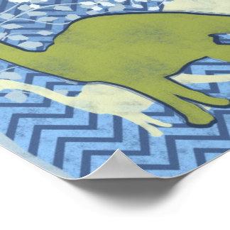 Dinosaurio verde en el zigzag Chevron - azul y bla Póster