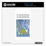 Dinosaurio verde en el zigzag Chevron - azul y bla Skins Para eliPhone 4S