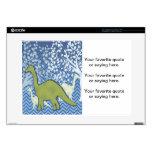 Dinosaurio verde en el zigzag Chevron - azul y bla Portátil Calcomanías