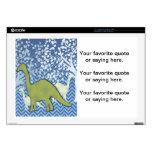 Dinosaurio verde en el zigzag Chevron - azul y bla Portátil 43,2cm Skin
