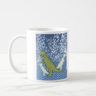 Dinosaurio verde en el zigzag Chevron - azul y bla Taza Básica Blanca