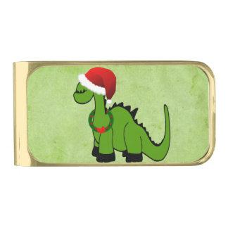 Dinosaurio verde en un gorra de Santa para el Clip Para Billetes Dorado