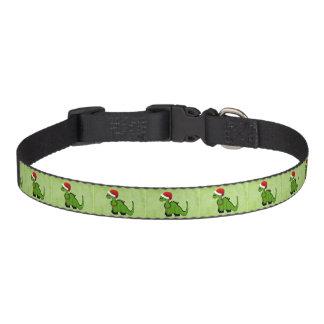 Dinosaurio verde en un gorra de Santa para el Collar Para Perro