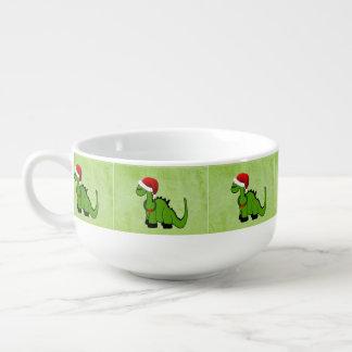 Dinosaurio verde en un gorra de Santa para el Cuenco Para Sopa