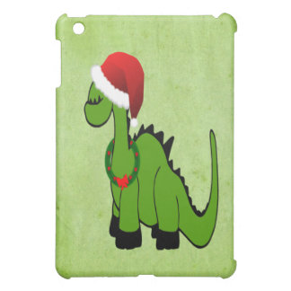 Dinosaurio verde en un gorra de Santa para el navi