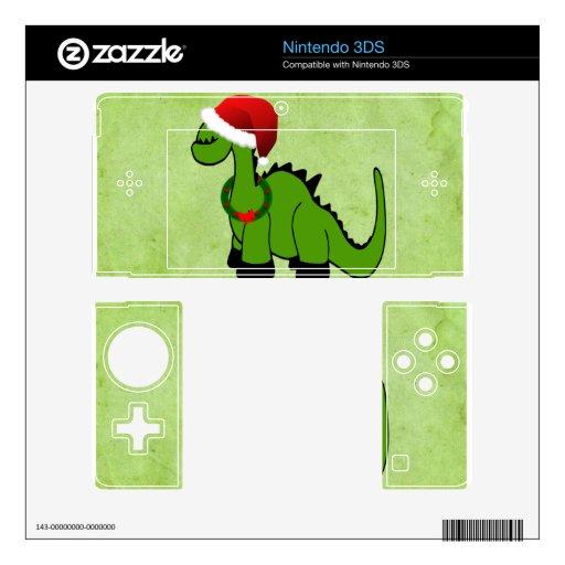 Dinosaurio verde en un gorra de Santa para el navi 3DS Skins