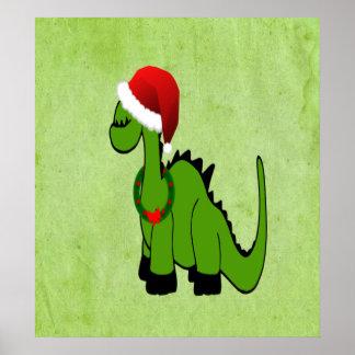 Dinosaurio verde en un gorra de Santa para el navi Impresiones