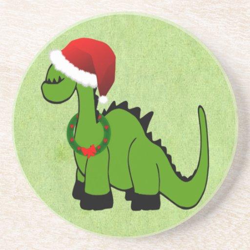 Dinosaurio verde en un gorra de Santa para el navi Posavasos Manualidades