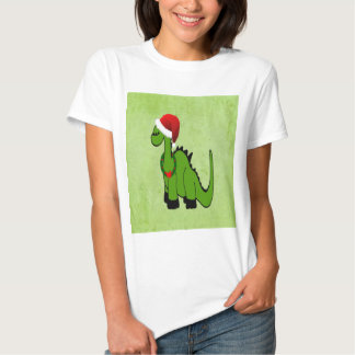 Dinosaurio verde en un gorra de Santa para el Playeras