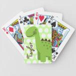 Dinosaurio verde lindo barajas de cartas