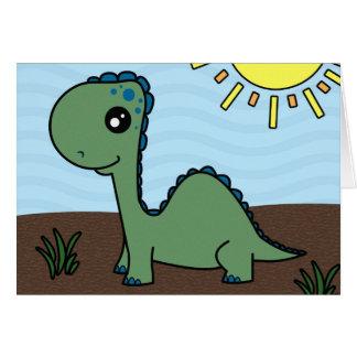 Dinosaurio verde lindo del bebé tarjetas