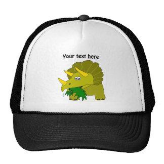 Dinosaurio verde lindo del dibujo animado del gorras de camionero