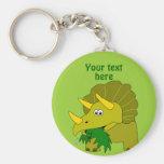 Dinosaurio verde lindo del dibujo animado del llavero redondo tipo pin