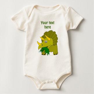 Dinosaurio verde lindo del dibujo animado del mamelucos