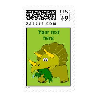 Dinosaurio verde lindo del dibujo animado del sello