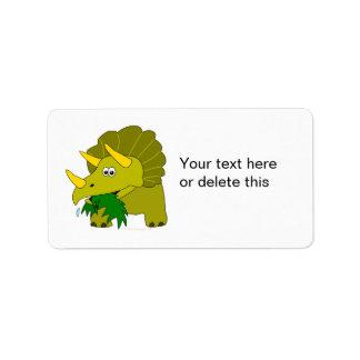 Dinosaurio verde lindo del dibujo animado del Tric Etiquetas De Dirección