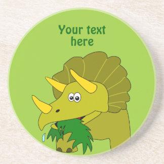 Dinosaurio verde lindo del dibujo animado del Tric Posavasos Personalizados