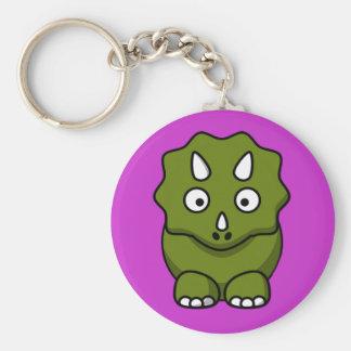Dinosaurio verde lindo del dibujo animado llavero personalizado