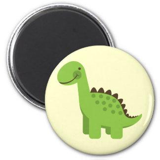 Dinosaurio verde lindo imán de nevera