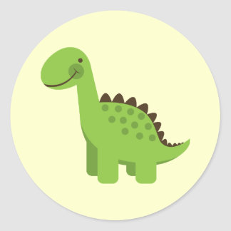 Dinosaurio verde lindo pegatina redonda