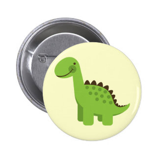 Dinosaurio verde lindo pin redondo de 2 pulgadas