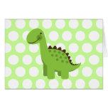 Dinosaurio verde lindo tarjeton
