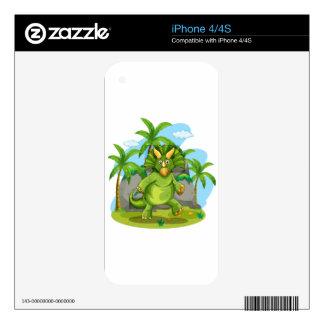 Dinosaurio verde que se coloca en dos pies skin para el iPhone 4
