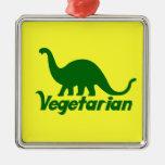 Dinosaurio verde vegetariano ornamento de navidad