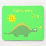 Dinosaurio verde y amarillo lindo Mousemat del Ste Alfombrilla De Raton