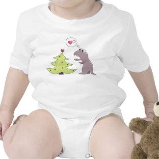 Dinosaurio y árbol de navidad camiseta