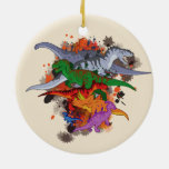 Dinosaurios Adorno Navideño Redondo De Cerámica