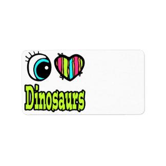 Dinosaurios brillantes del amor del corazón I del  Etiqueta De Dirección