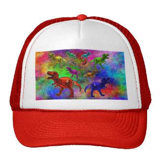 Dinosaurios coloreados en fondo en colores pastel gorros bordados