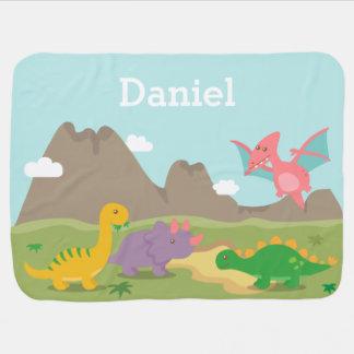 Dinosaurios coloridos lindos para los bebés manta de bebé